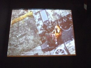 A large screen shows video footage from the rescue helicopter